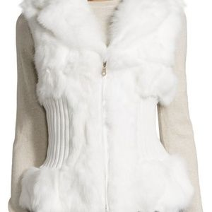 AKIRA White Fur Quilted Knit Zip Up Vest Medium